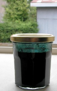 Le mélange chauffé à 50°C d'indigo + potasse + hydrosulfite est en train de réduire.